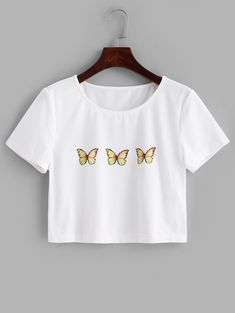 ZAFUL Butterfly Print Crop Tee  WHITE , #Aff, #Print, #Butterfly, #ZAFUL, #WHITE, #Tee #Ad Crop Tops For Kids, Cute Crop Tops, Crop Top Shirts, Crop Tee, Cool T Shirts, Casual Shirts, Tee Shirts, Girl Outfits, Cute Outfits