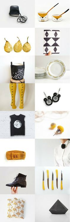 gift ideas for the style conscious mom :: treasury by Barbara on #Etsy #mustard #black #modern #contemporary #trending #fashion #accessories