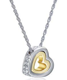 Gold Hold My Heart Pendant Necklace Made With SWAROVSKI ELEMENTS by MESTIGE #zulily #zulilyfinds