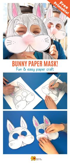 Bunny Mask DIY  What's up doc?  It's a cute bunny mask, that's what!  Here's what you'll need -  1. Our printable PDF sheet, which you can download here -  2. Scissors 3. Skewers 4. Scotch tape 5. Crayons  6. Cotton balls 7. Glue  Have fun!