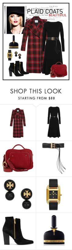 """Dondup Double Breasted Plaid Coat Look"" by romaboots-1 ❤ liked on Polyvore featuring Smashbox, MICHAEL Michael Kors, See by Chloé, Maison Margiela, Tory Burch, Balmain and Tom Ford"