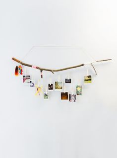CUSTOMIZABLE Tree Branch Photograph Hanger with white Ombre Clothespins Hand Painted and wrapped using choice of Twine, string and colors