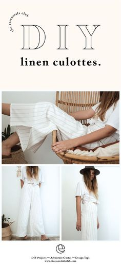 DIY: Linen Culottes - DIY tutorial for linen culottes. Perfect as a winter layer that can easily be dressed up or kept ca - : DIY: Linen Culottes - DIY tutorial for linen culottes. Perfect as a winter layer that can easily be dressed up or kept ca - Sewing Pants, Sewing Clothes, Sewing Projects For Beginners, Sewing Tutorials, Sewing Tips, Sewing Ideas, Diy Projects, Sewing Patterns Free, Free Sewing