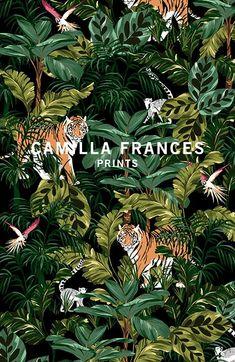 "Képtalálat a következőre: ""camilla frances prints"" Surface Pattern Design, Pattern Art, Print Patterns, Jungle Pattern, Textile Prints, Floral Prints, Jungle Art, Drawn Art, Fabric Wallpaper"