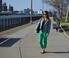 green, denim and dots