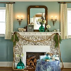 oyster shell fireplace. Ok I don't think I could actually do this but it's so freakin cool!!
