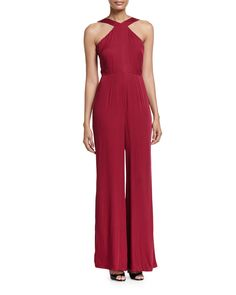 """SEVENTIES WIDE-LEG JUMPSUIT, BRICK Chloe Oliver seventies-style jumpsuit. Approx. measurements: 63""""L from shoulder to hem. Halter neckline. Sleeveless; cut-in shoulders. Seam at natural waist. Wide legs. Hidden back zip. Rayon. Machine wash. Imported.  Previous price: $189.00 Price now: $119.00  Buy now:   #ChloeOliver #hers #womenapparel #women #apparel #jumpsuitsrompers #jumpsuits #rompers  #brick WideLeg #Musteredlady"""