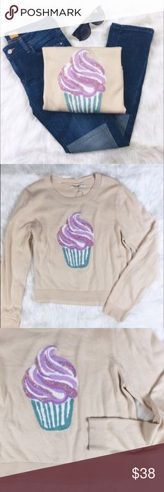 "Lauren Conrad Cupcake Crop Sweater Pair this sweet sweater with a tulle skirt and heels! Just in time for the coming fall weather! • Bust 22"" • Length 22"" • Small hole at shoulder as pictured. LC Lauren Conrad Tops"