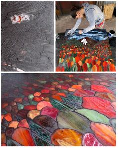Stained Glass Mosaic grouting process by Kasia Polkowska See More: https://www.facebook.com/KasiaMosaics