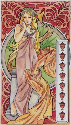 8 de coupes - Tarot art nouveau par Antonella Castelli