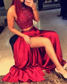Red Sequins High-Slit Taffeta Two Pieces Prom Dresses 2017