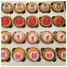 Liverpool & 60th themed cupcakes