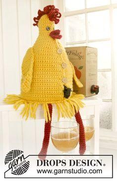 """DROPS Easter: Crochet DROPS hen wine cover in """"Eskimo"""". ~ DROPS Design"""
