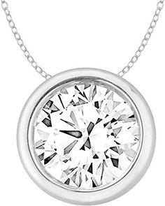 EternalDia 2 Ct Round Cut Amethyst Solitaire Pendant Necklace Solid 14K White Gold Over Sterling Silver .925