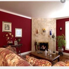 Like The Colors Burgundy Walls Room Living Red