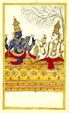 Dialogue entre Vishnu et Shiva. Album de 185 illustrations de l'Histoire de Shiva. Karikal (Tanjore), entre 1727 et 1758.                                                                                                                                                                                 Plus