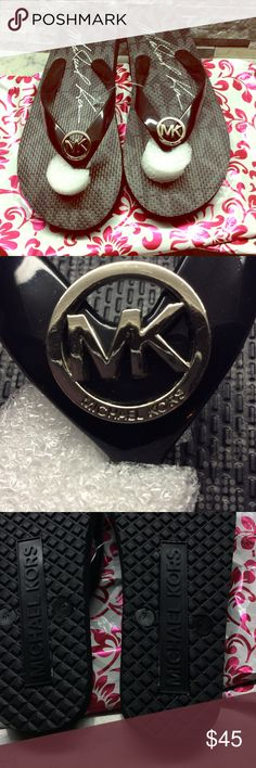 BRAND NEW MK JELLIES Black with Silver Monogram. BNWOT.. (I lost it) perfect condition. No flaws.May not be bundled at this fabulous price ❤️❤️❤️ Michael Kors Shoes Sandals