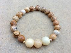 Natural Agate Beaded Stretch Bracelet by ArleneSangster on Etsy, $15.00