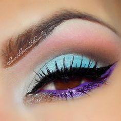 Photo by auroramakeup, #purple #skyblue #eye #eyeshadow #lashes