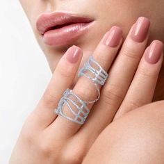 Overlap Leaves Double Midi Ring for Women
