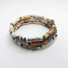 Your place to buy and sell all things handmade Paper Bead Jewelry, Paper Beads, Beaded Jewelry, Wire Wrapped Bracelet, Wrap Bracelets, Beaded Bracelets, Lovers And Friends, How To Make Beads, Bracelet Making