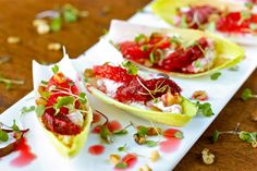 Endive Stuffed with Goat Cheese, Blood Orange, and Walnuts