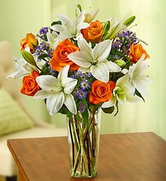 Summer Rose and Lily Bouquet, six roses gathered with five Asiatic lilies and three stems of asters $39.99 #roses #summer #flowers