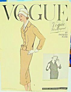 1957 VOGUE PARIS ORIGINAL PATTERN BY JACQUES FATH 1365 CUT / SZ. 12- AS IS #VOGUEPARISORIGINALJACQUESFATH #WOMENSSUIT Vintage Dresses 50s, Vintage Outfits, Vintage Clothing, 1950s Fashion, Club Fashion, Jacques Fath, Club Style, Club Dresses, Vogue Paris