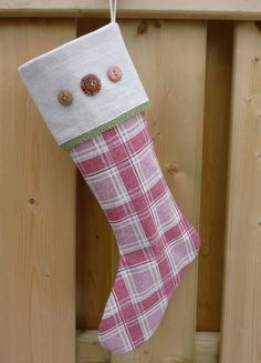 Linen Stocking  Christmas Stocking  Plaid Stocking  by GabryRoad, $22.00