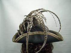 Pirate Hat Tricorn Hat Renaissance Hat LARP BLAck by MsPurdy