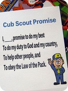Cub scout promise and law of the pack. Great to hand out to all the new scouts Cub Scout Crafts, Cub Scout Activities, Activities For Boys, Cub Scouts Wolf, Tiger Scouts, Scout Mom, Scouts Of America, Scout Camping, Teaching Time
