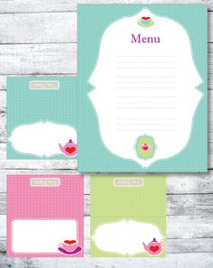 Tea Party Printable Tent and Menu Cards