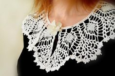 collar white collar crochet collar women by Katescrochetwork