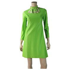Lively 1960's French Mod Dress In Vivid Lime Green Rayon With Renal Paris Label from Marzilli Vintage at RubyLane.com #rubylane  #stpatricksday  #vintagedress