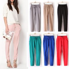 2015 Spring Summer New Fashion Brand Causal Women Drawstring Elastic Waist Chiffon Harem Pants Plus Size Solid Color - http://www.freshinstyle.com/products/2015-spring-summer-new-fashion-brand-causal-women-drawstring-elastic-waist-chiffon-harem-pants-plus-size-solid-color/