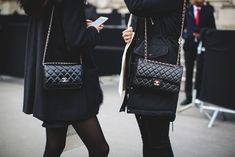 What The Street Style Stars Wore To Chanel's #FrontRowOnly Show #refinery29 http://www.refinery29.com/2016/03/105548/chanel-street-style-paris-fall-winter-2016#slide-1 Seeing double with the brand's classic 2.55....