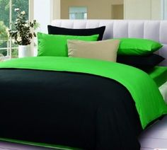 Amazon.com: Black And Green Bedding Set,Spring Comforter Sets,Green Bed In A Bag: Home & Kitchen