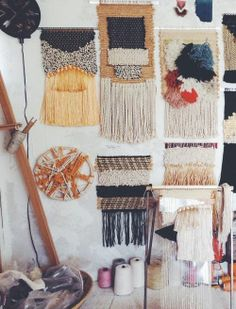 makes my crafty knees weak . Via Justina Blakeney - All Roads textile studio visit. New weavings and works in progress. Weaving Textiles, Weaving Art, Loom Weaving, Tapestry Weaving, Arts And Crafts, Diy Crafts, Weaving Projects, Woven Wall Hanging, Textile Art