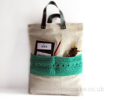 Linen tote knitted bag emerald green large purse leather by memake, £60.00