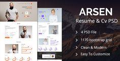 Arsen Personal CV/Resume PSD Template  -  http://themekeeper.com/item/psd-templates/arsen-personal-cvresume-psd-template