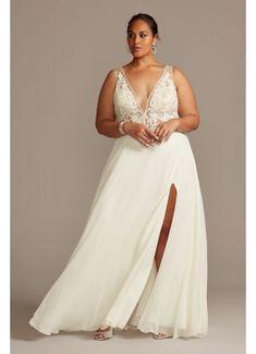 Stars A-Line Plus Size Wedding Dress | David's Bridal Sophisticated Wedding Dresses, Plus Wedding Dresses, Luxury Wedding Dress, Plus Size Wedding, Wedding Dress Styles, Bridal Dresses, Bridesmaid Dresses, Davids Bridal Plus Size, Dress Wedding