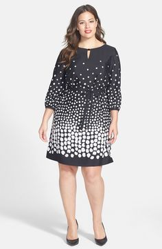 Belted Graduated Dot Dress (Plus Size)