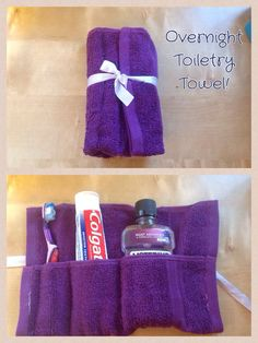 My toiletry towel I made using my sewing machine!! A great project for beginners on a sewing machine!!