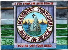 Steve Bell on thatcher's funeral