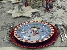 Frosty figurines and themed plates complete the look!