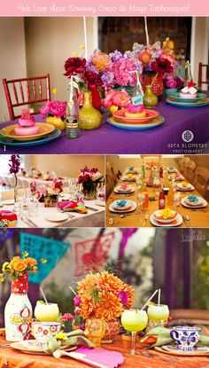 Table decorations for a Cinco de Mayo wedding party