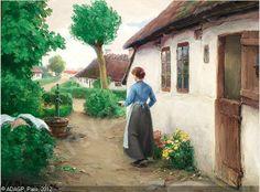 Hans Andersen Brendekilde (1857-1942): En ung kvinde, der vasker tøj