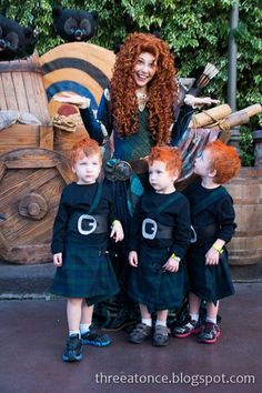 It's not often triplets find a suitable family costume so when one mom saw Pixar's Brave featured three brothers, she knew it was only a matter of time before she'd dress her boys up. On her blog Three at Once she says she spent a month making their costumes for a Halloween trip to Disneyland.