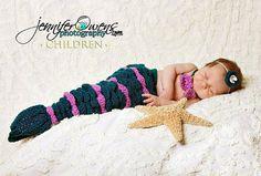 Crochet Little Mermaid Newborn Photography by FaithandSparrows, $45.00
