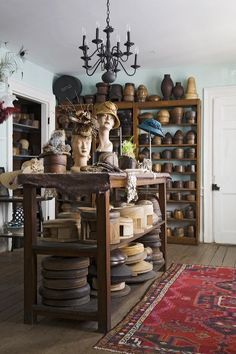 Magar Hatworks-Charleston SC Great look at a workroom #millinery #judithm #hats